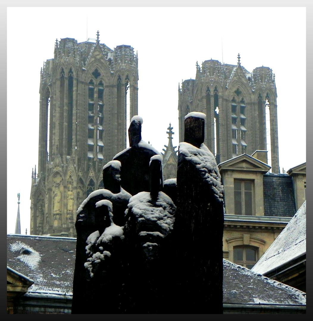Première neige à Reims
