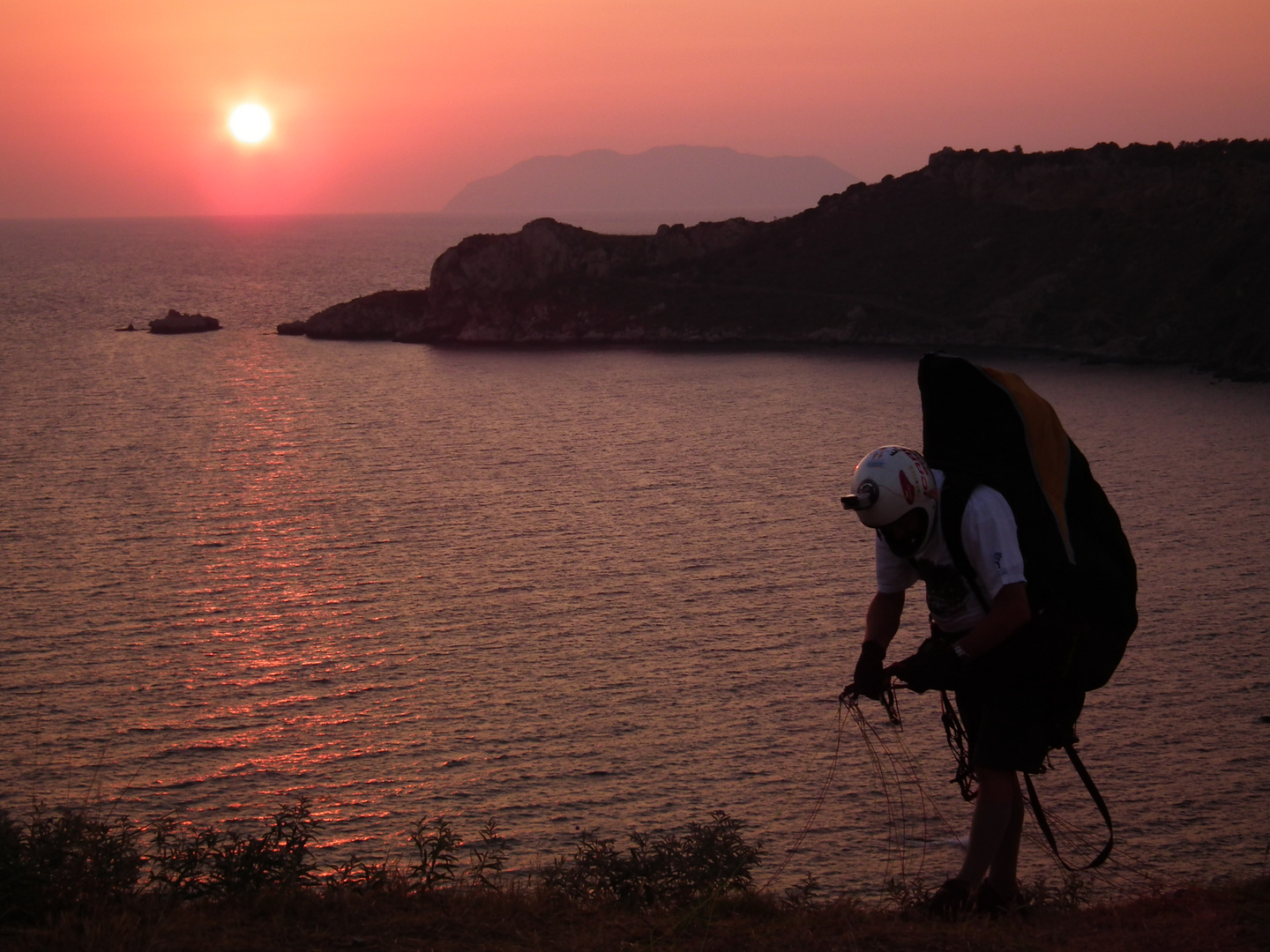 Preparation for launch at sunset of Capo Milazzo