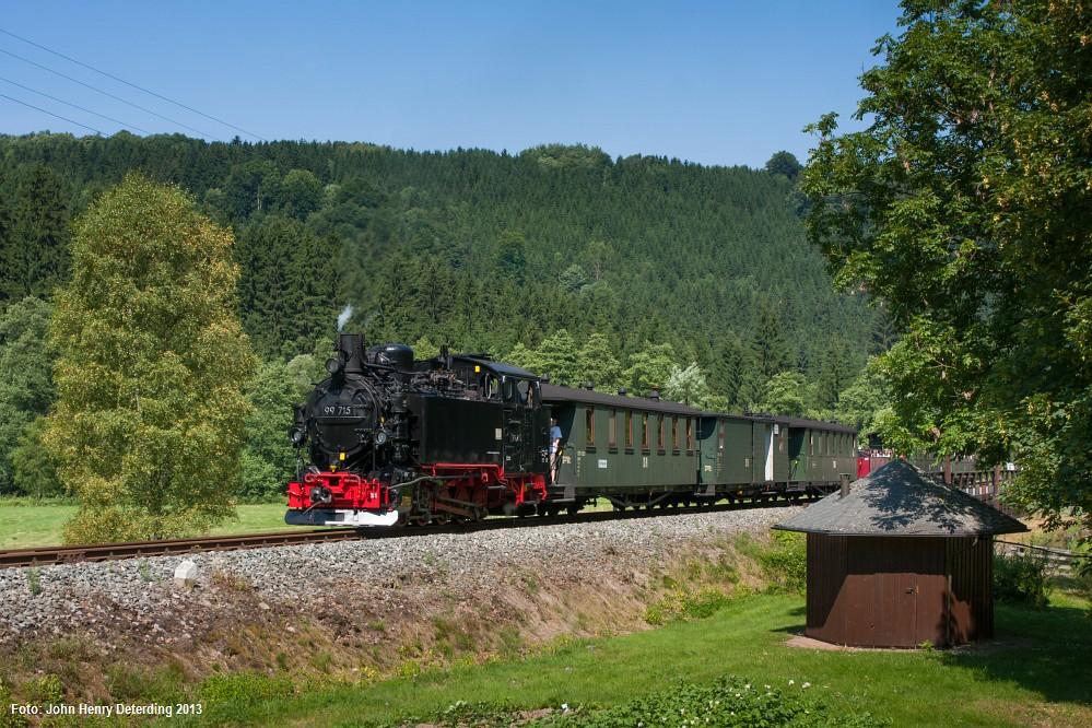 Preßnitztalbahn, Forellenhof, 99 715, Juli 2013