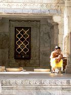 Priest in Adinath Temple in Ranakpur near Udaipur