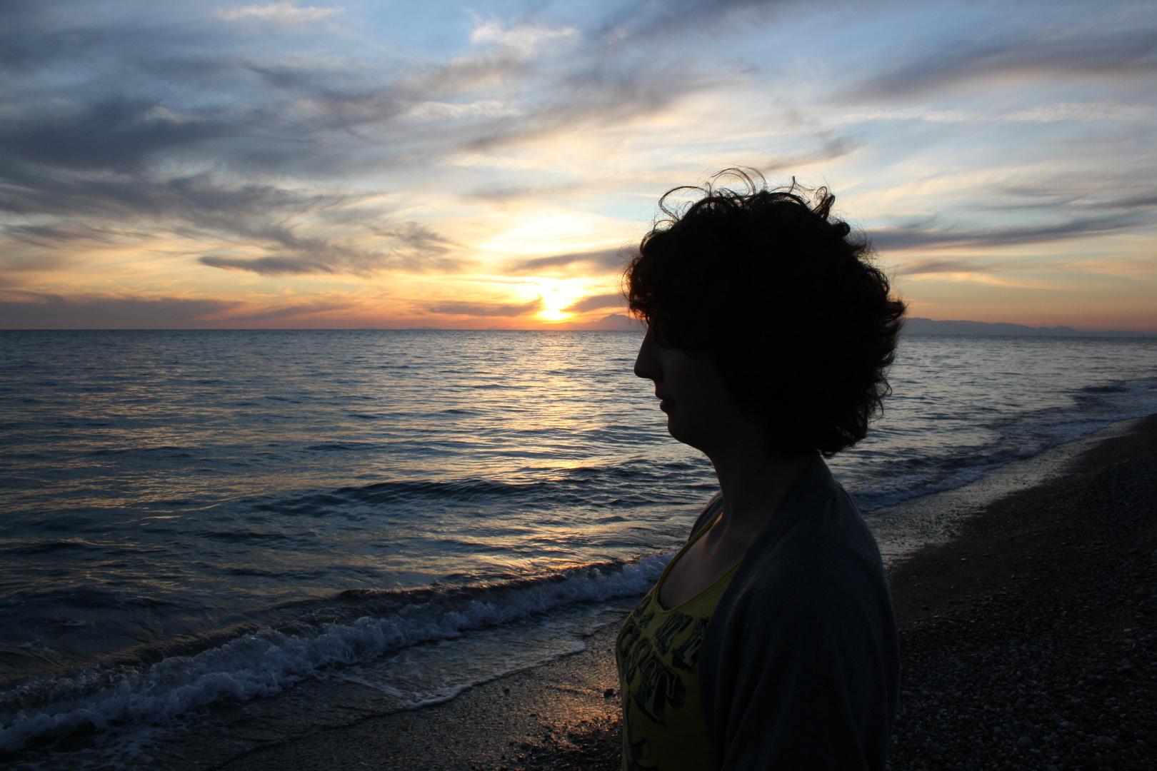 Profil im Sonnenuntergang