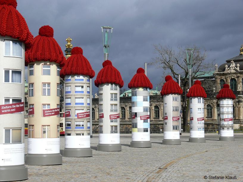 Pudelmützenalarm am Postplatz in Dresden