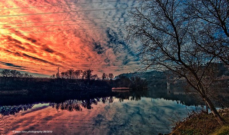 puesta de sol en el Ebro
