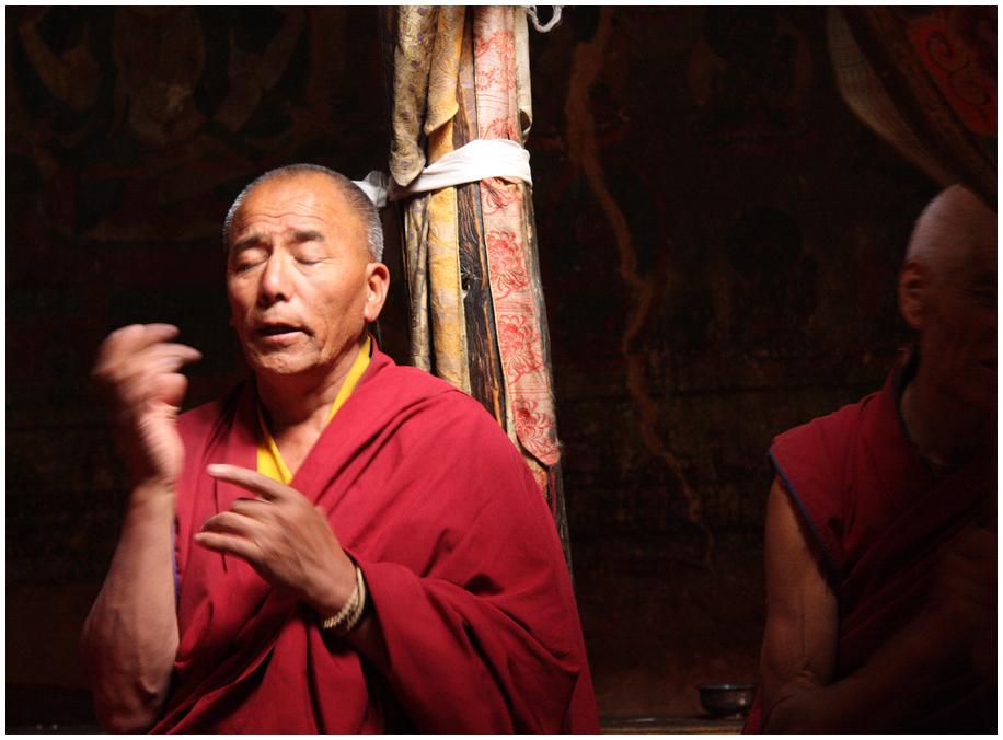 Puja (Gebetszeremonie) im Kloster Thonde 02, Zanskar