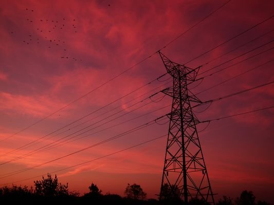 Pylons at sunrise