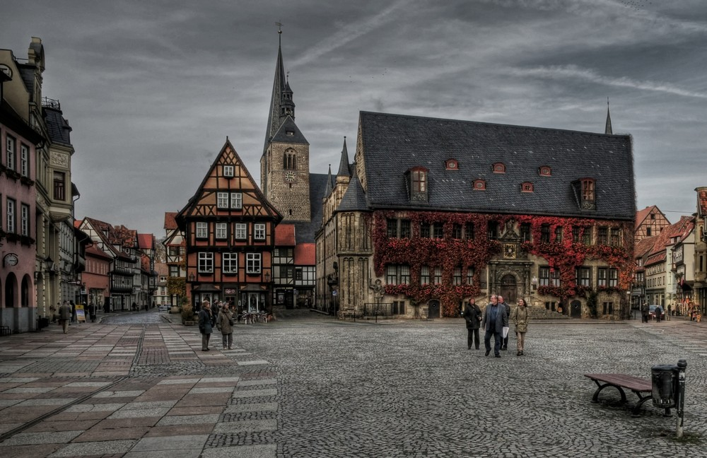 """Quedlinburg - Centrum """" Marktplatz mit Blick zum Rathaus """""""