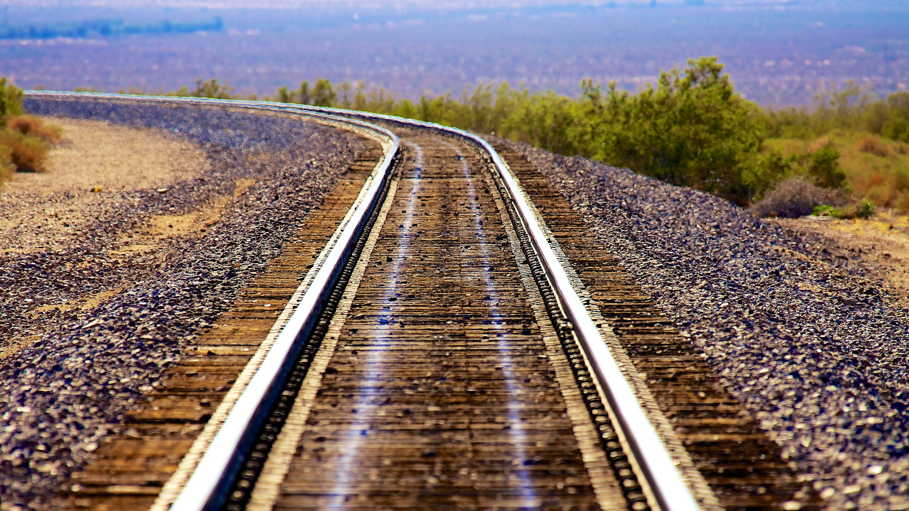 Railroad in the heat of Mojave