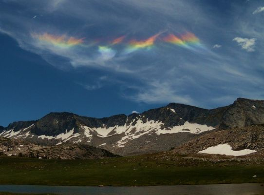 Rainbow colors above Gallison Lake