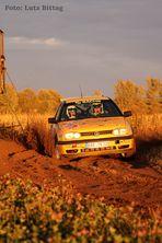 Rallyesport bei Abendsonne