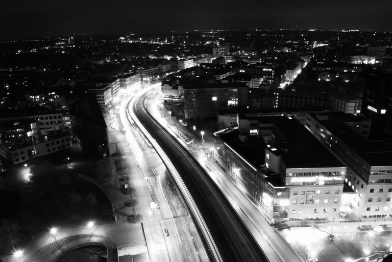 Raschplatzhochstraße bei Nacht - BW (Hannover/Niedersachsen)
