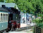 Rasender Roland fährt im Bahnhof Binz ein
