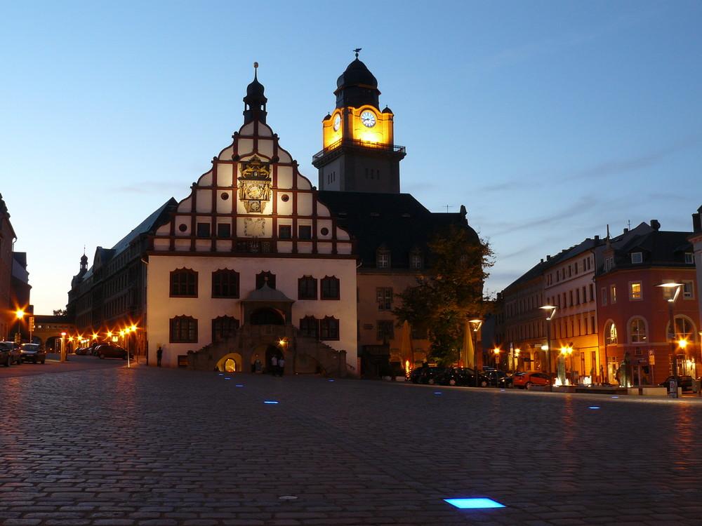 Rathaus Plauen bei Nacht