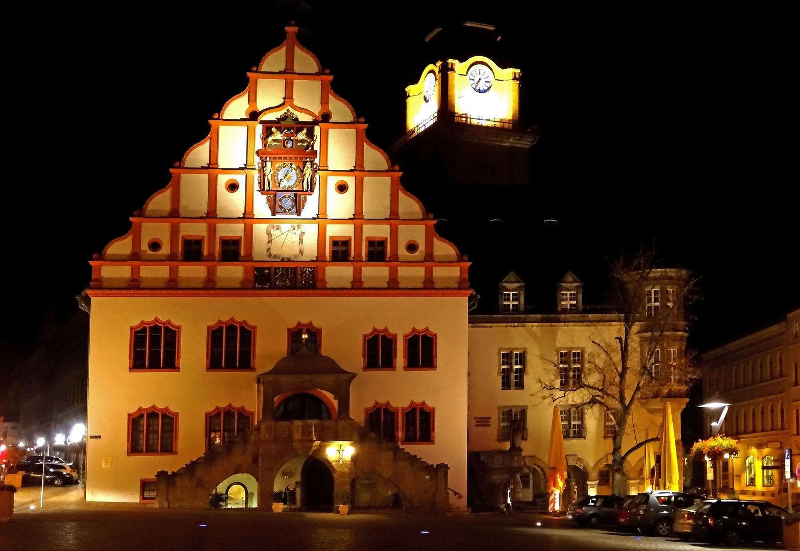 Rathaus Plauen im Abendlicht