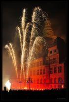 Rathaus Recklinghausen hinter Feuerwerk, 2