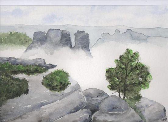 Rathener Felsen im Nebel
