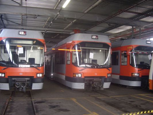 RBS Züge im Depot aufgereiht
