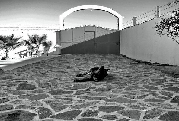 recherche d'ombre dans l'ombre du mur