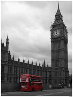 red bus at Big Ben