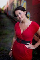 red dress, blue eyes