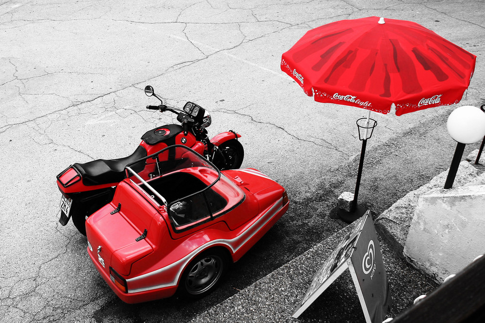 red motorcycle combination