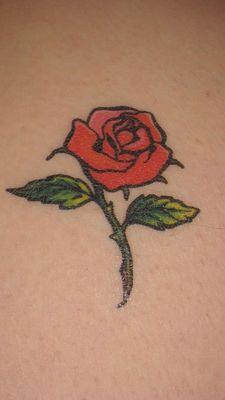 Red rose on skin
