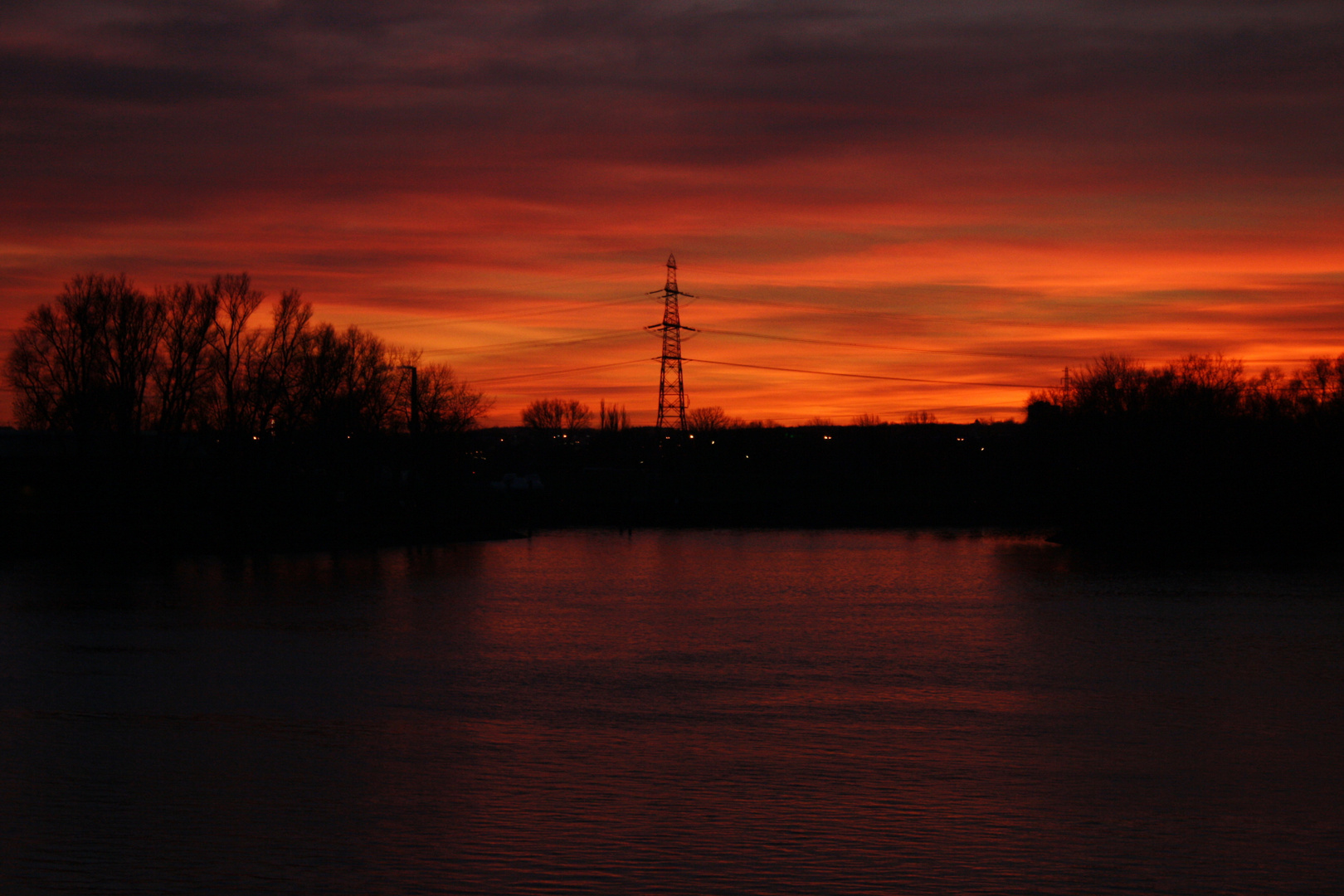 Red sky over water