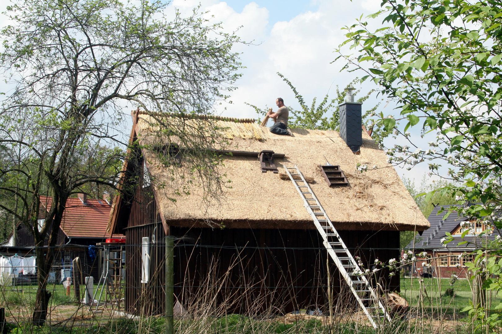 Reetdach wird erneuert...