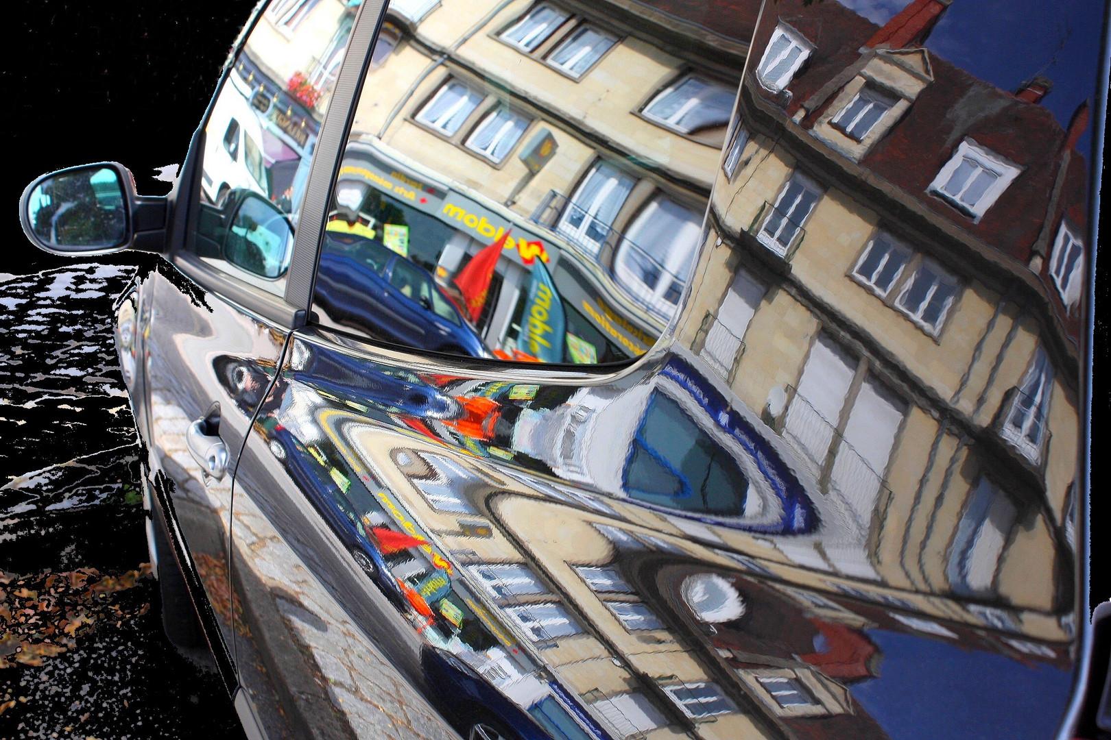 Reflets sur la voiture