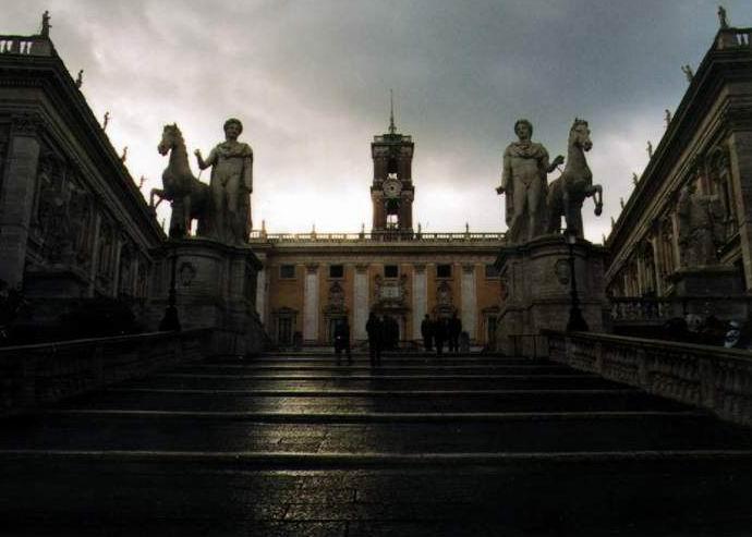 Regen in Rom - das Kapitol
