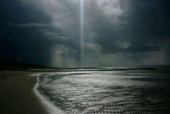 Regen und Sonne an der Nordsee
