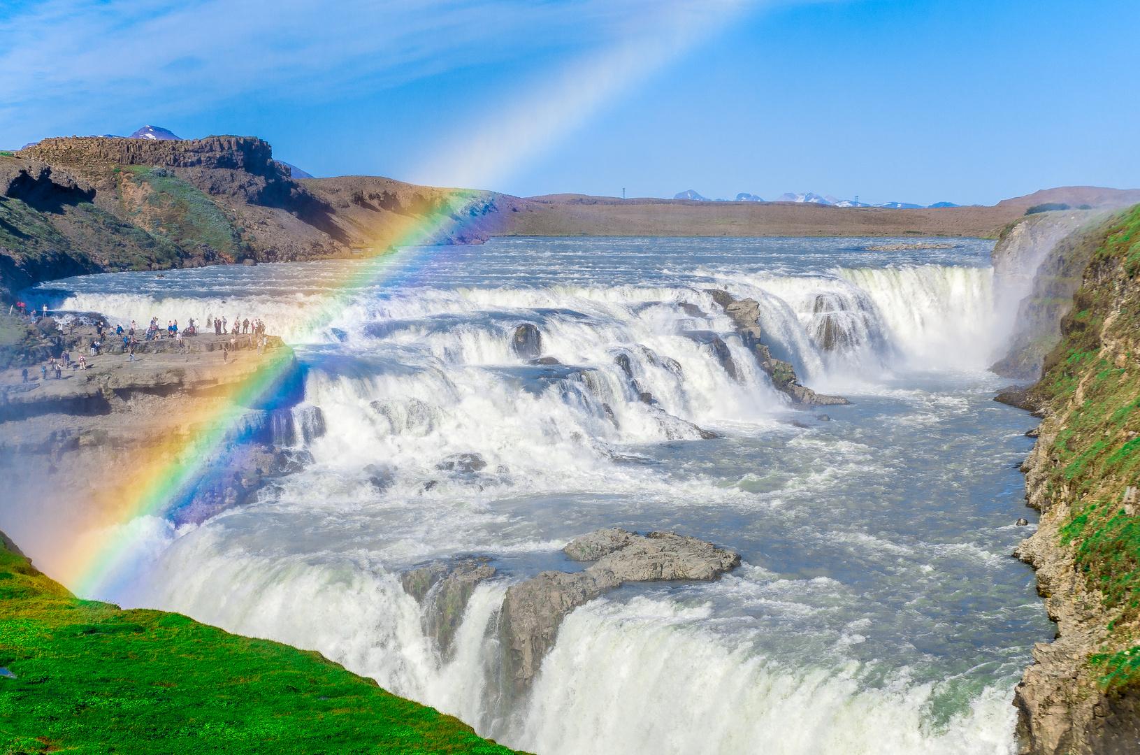 Regenbogen am Gullfoss, Island