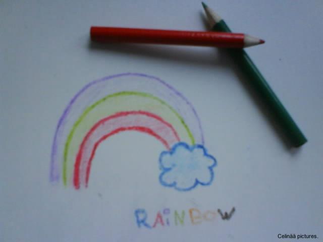 Tisch gezeichnet  Regenbogen auf den Tisch gezeichnet Foto & Bild | stillleben ...