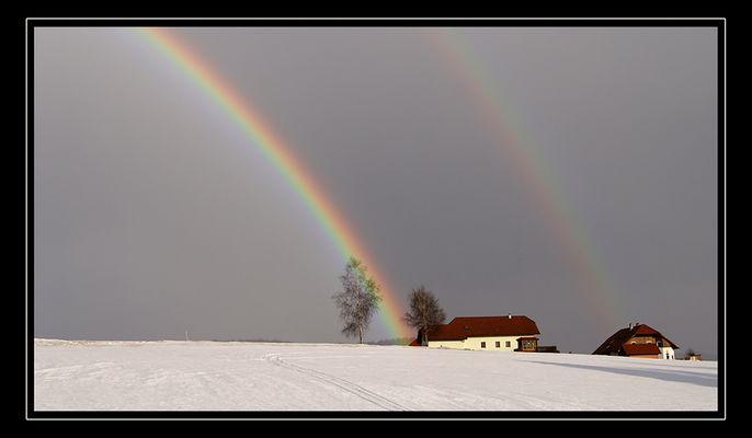 Regenbogen in Winterlandschaft