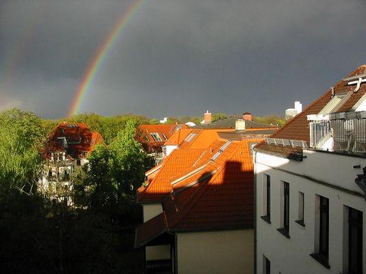Regenbogen über Leipzig