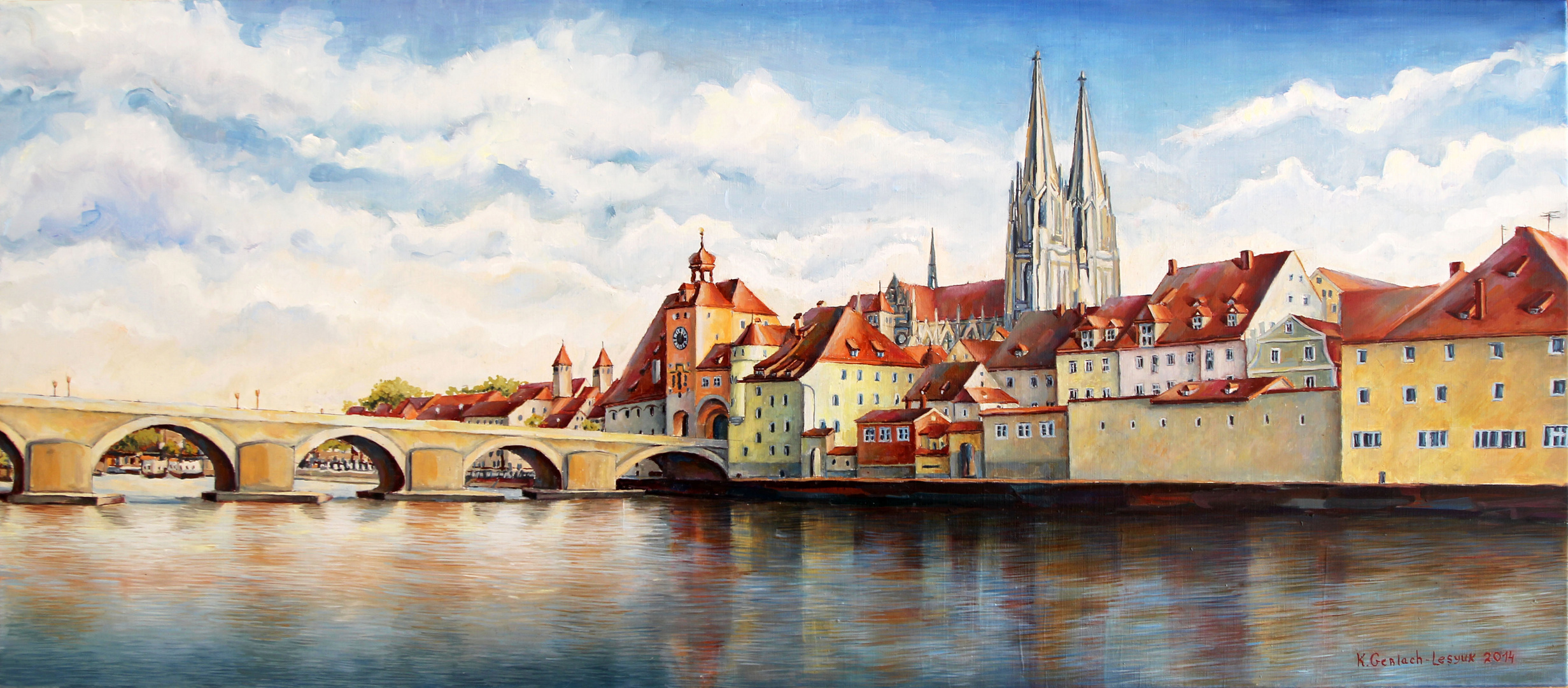 Regensburg Panorama mit Dom und steinerne Brücke