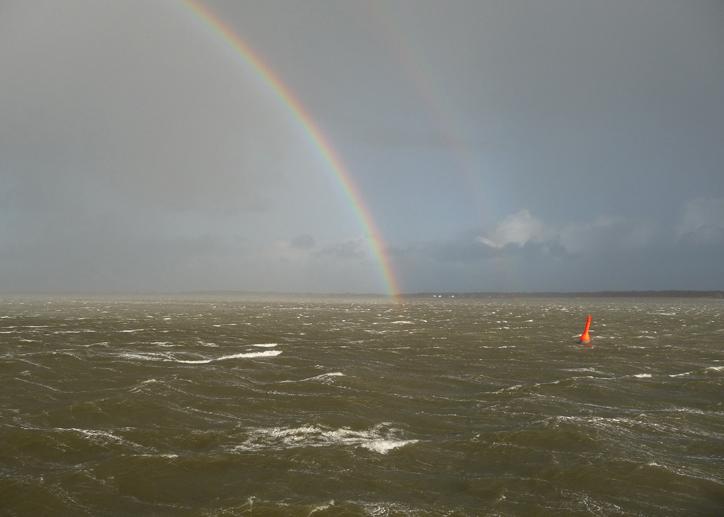 Regenschauer bei Überfahrt nach Amrum
