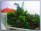 Regentropfen am Fenster des Ferienhauses