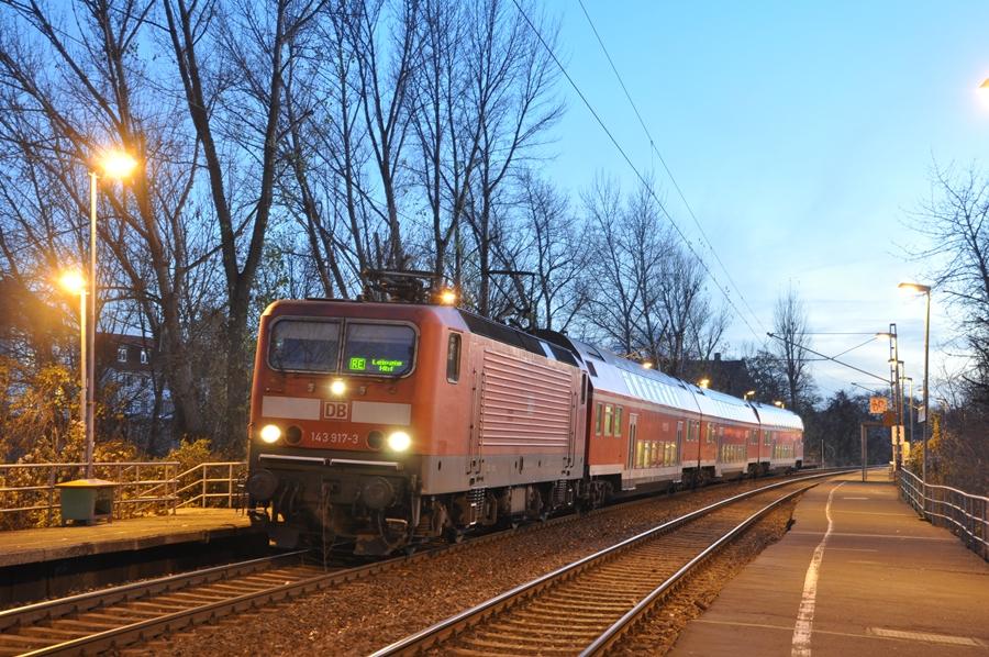 RegionalExpress am Haltepunkt Leipzig Anger-Crottendorf wenige Tage vor Einstellung der Strecke