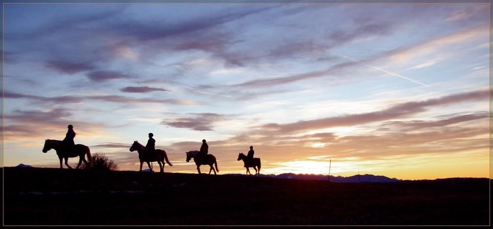 Reiter am abendlichen Horizont