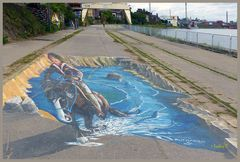 Reiter auf dem Weg - Graffiti-Kunst Krefeld Am Zollhof