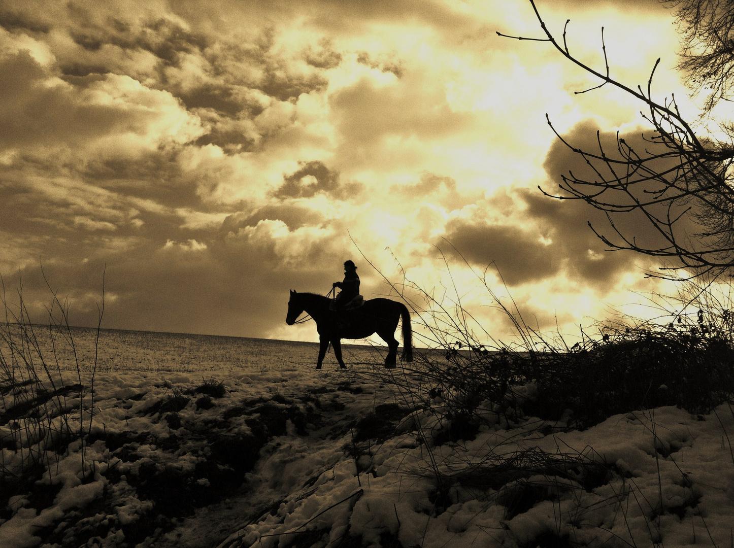 Reiterin im Schnee