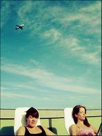 relaxen auf der dachterrasse??! ... lachte das flugzeug und flog weiter