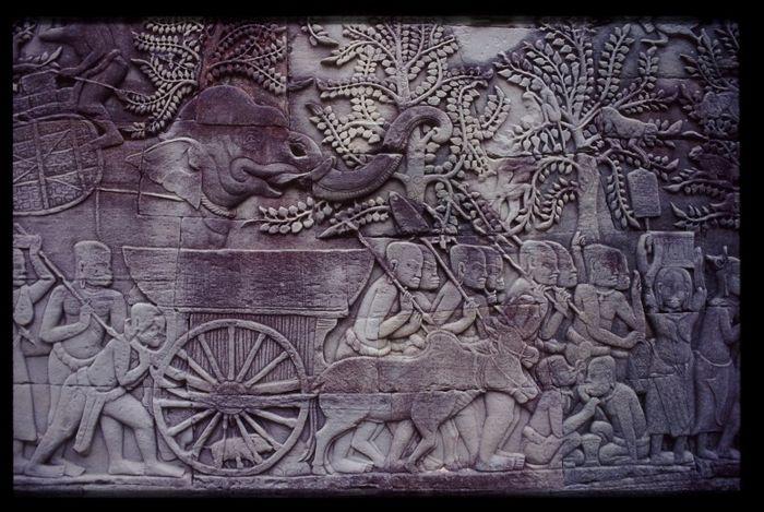 Reliefs am Bayon Tempel