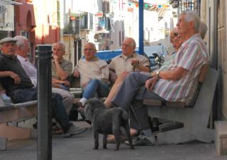 Rentner in Argeles, Südfrankreich