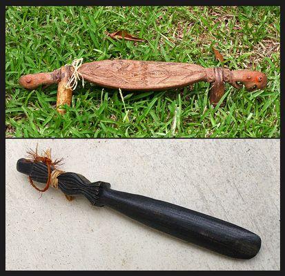 Repose nuque (Papouasie Nouvelle-Guinée) et couteau à igname (Nouvelle-Calédonie)