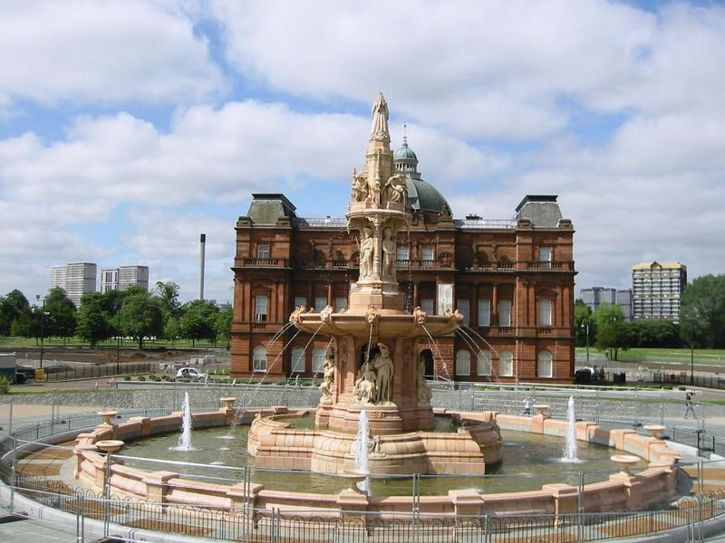 Restored fountain at Glasgow Green Scotland