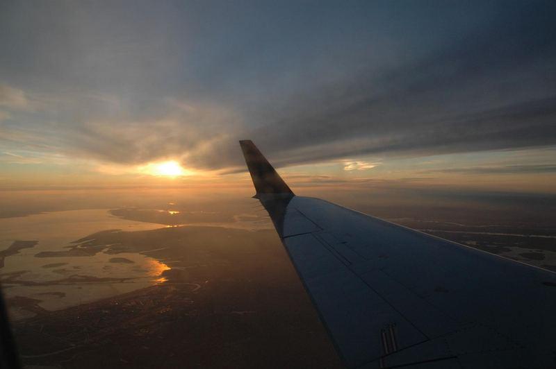 retour de voyage au dessus de New-York