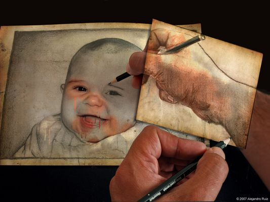 Retrato a manos