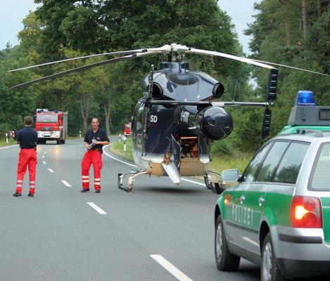 Rettungshubschrauber nach Unfall nicht mehr flugfähig