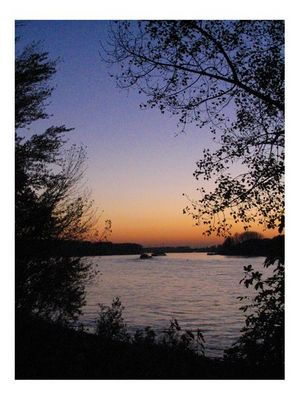 Rhein in Herbstdämmerung